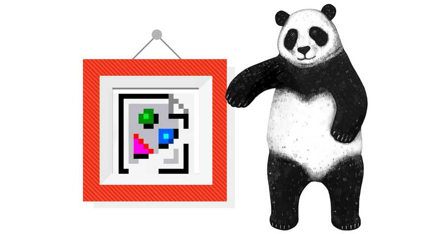 Panda standing next to an empty impage