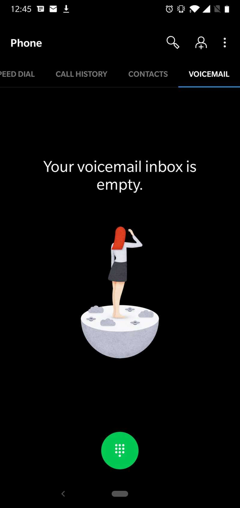 Screenshot of Voicemail inbox is empty in Oxygen OS