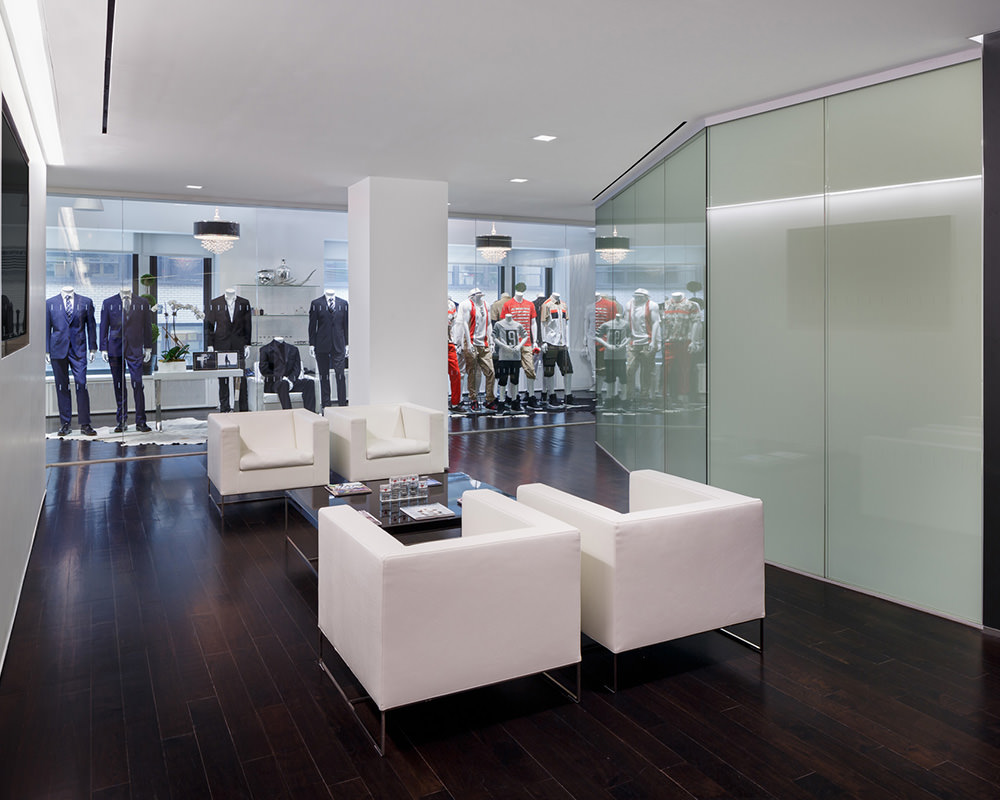 Office Room with Frosted Concave Glass Wall