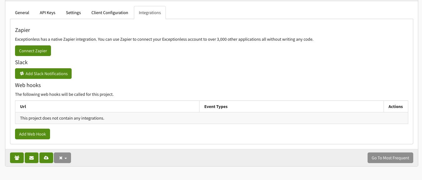 Integrations Page Screenshot