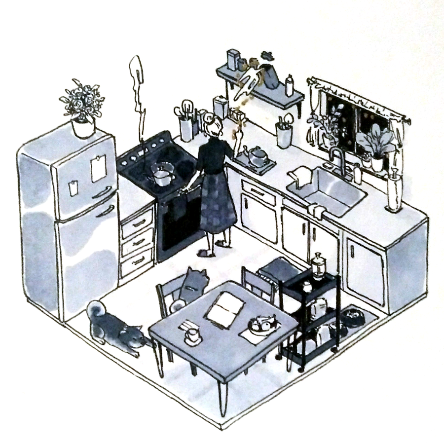 An isometric angle drawing of a kitchen with two dogs.