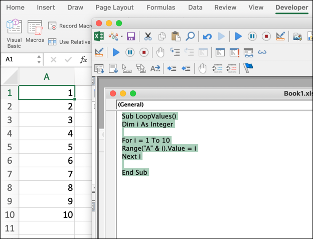 A VBA code snippet in Microsoft Excel