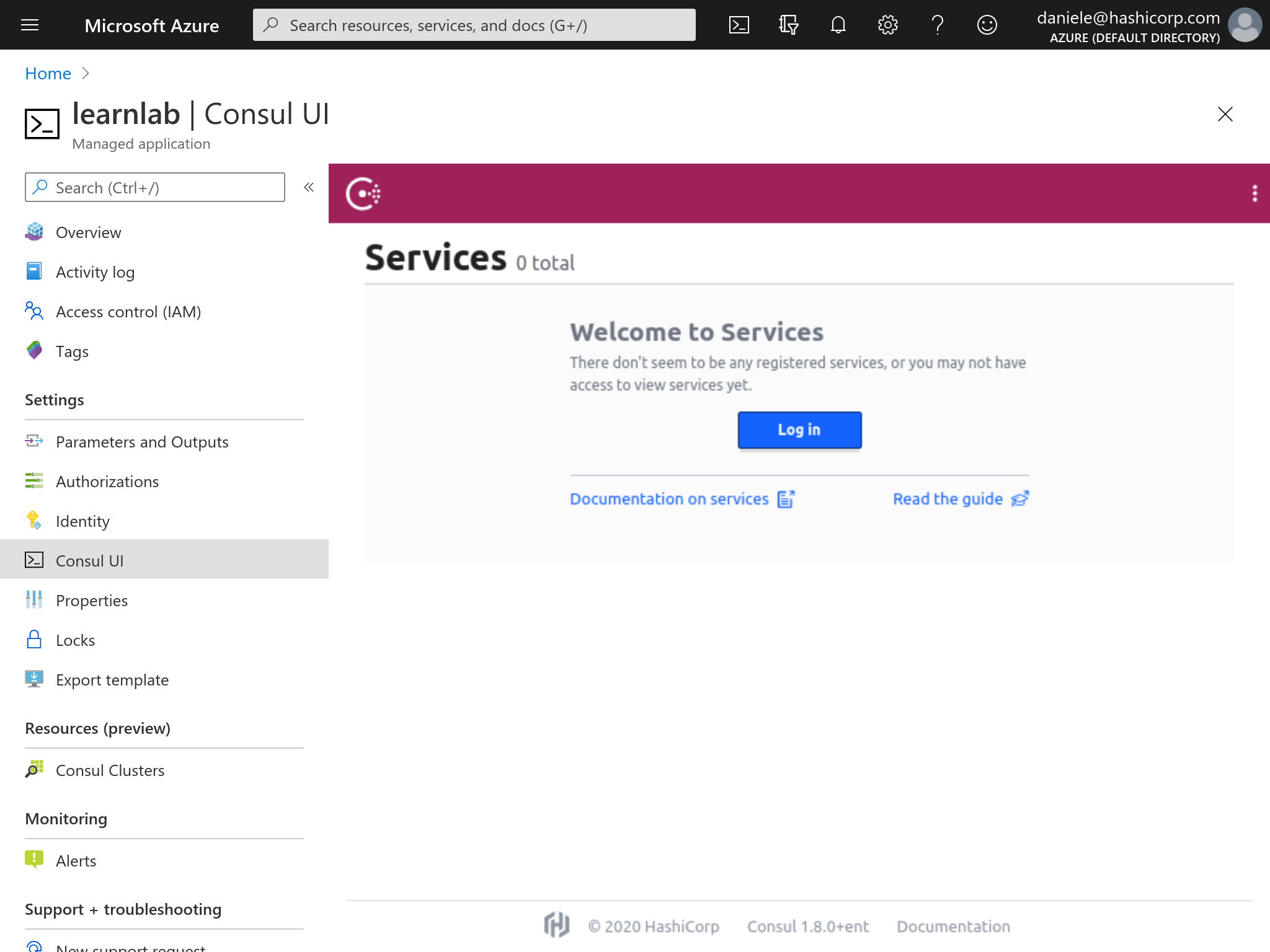 Azure Marketplace Consul UI Azure Dashboard