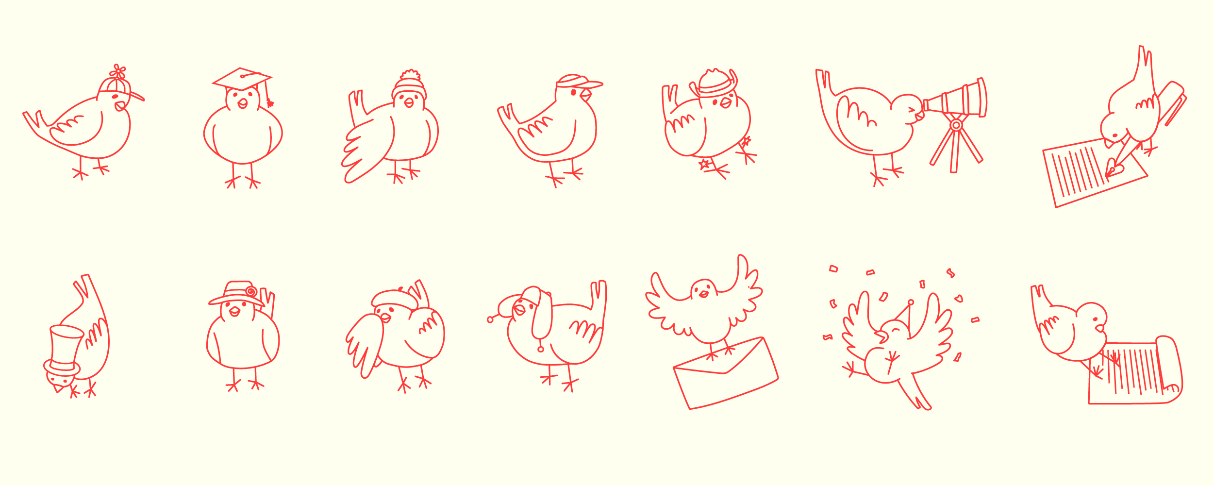 adorable orange lineart illustrations of canaries wearing hats and reading papers
