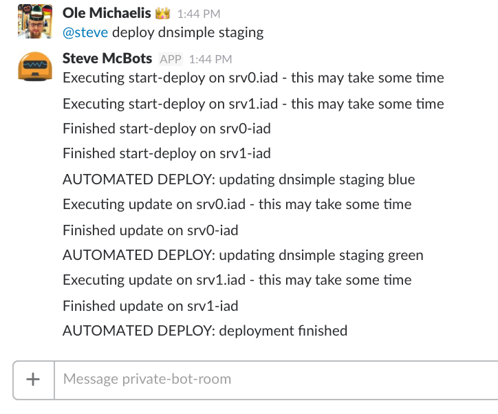 Screenshot showing the automated deploy in Slack