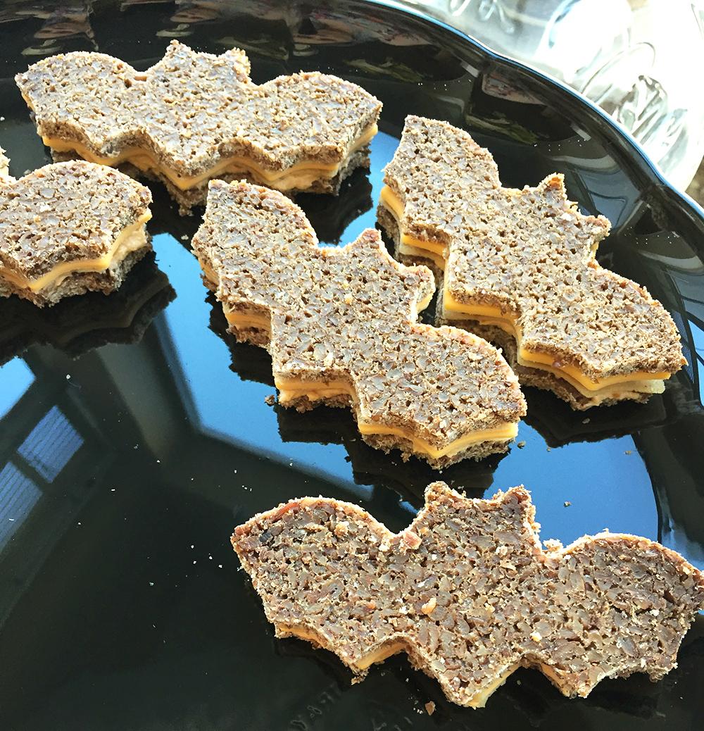 Vegan bat shaped tea sandwiches