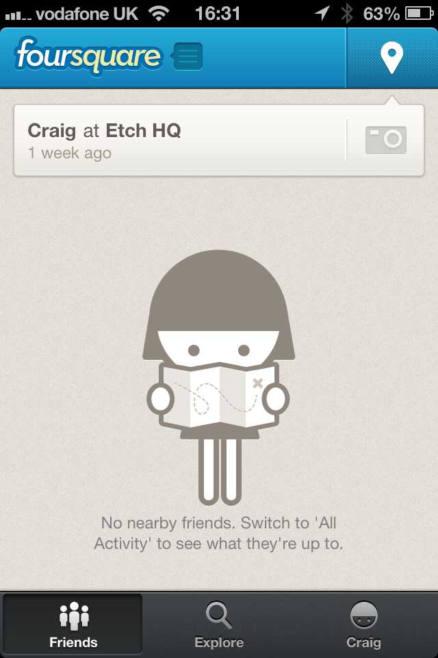 Screenshot of No nearby friends in Foursquare for iOS