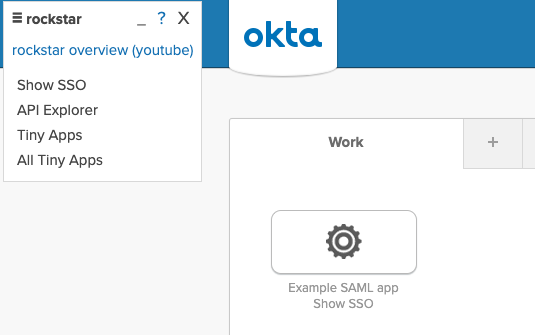 An example SAML app with the Show SSO link underneath it