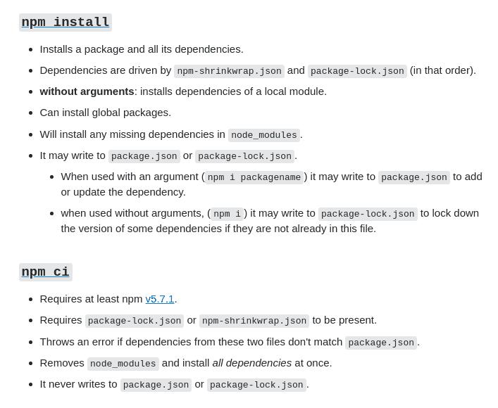 npm install vs npm ci