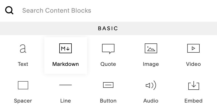 Squarespace Markdown block.