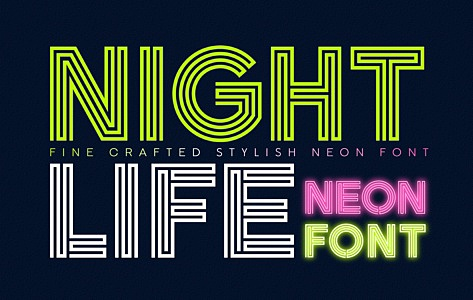 Nightlife Decorative Neon Font images/promo_Nightlife_1.jpg