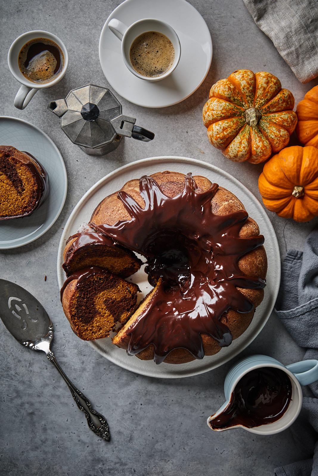 Pumpkin Espresso Bundt Cake With A Chocolate Espresso Rum Glaze