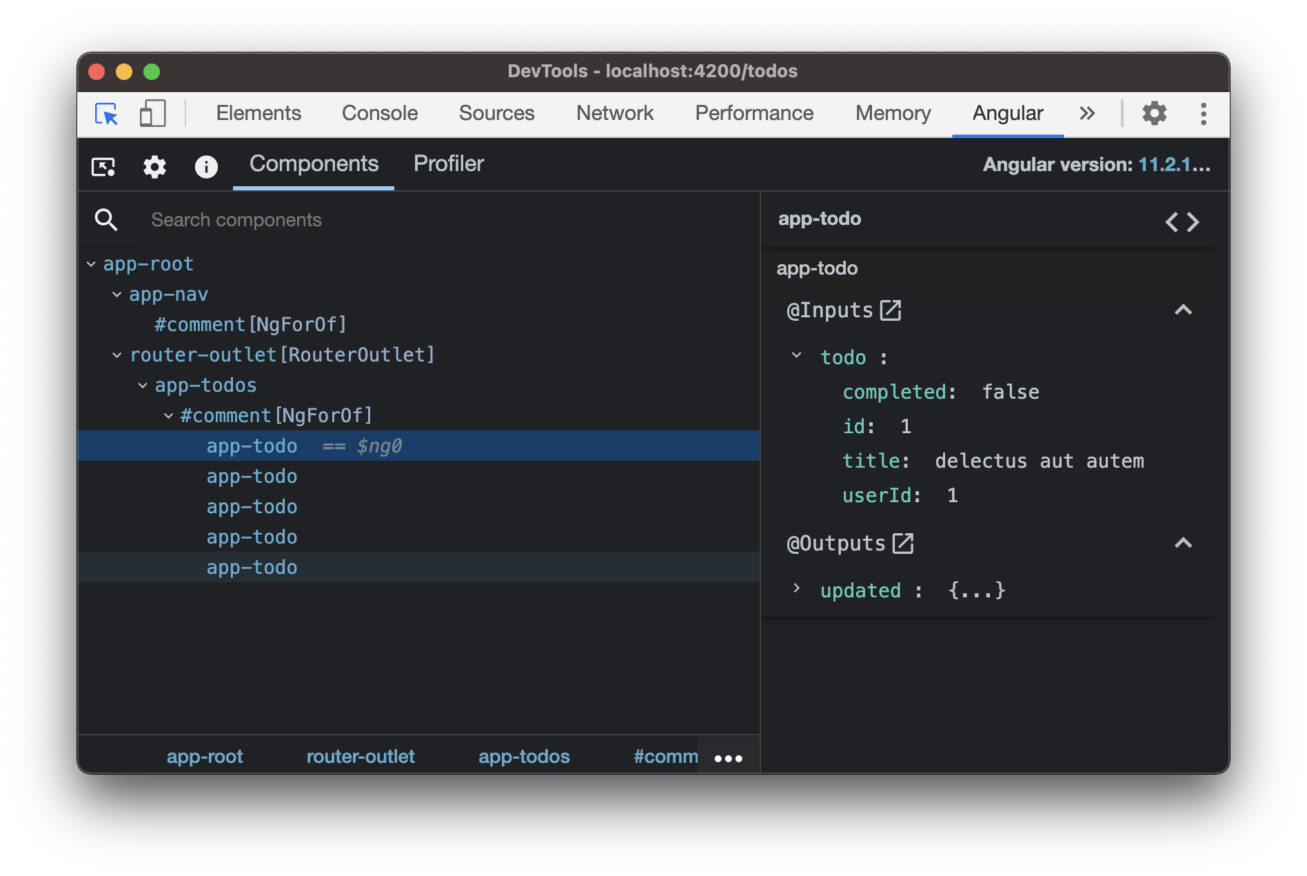 Angular dev tools showing the app-todo component