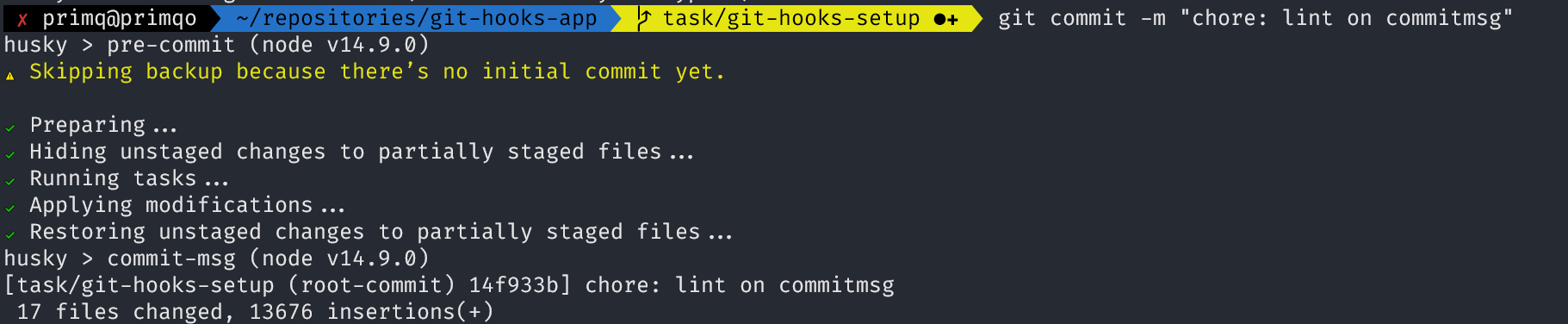The result of running the commit command