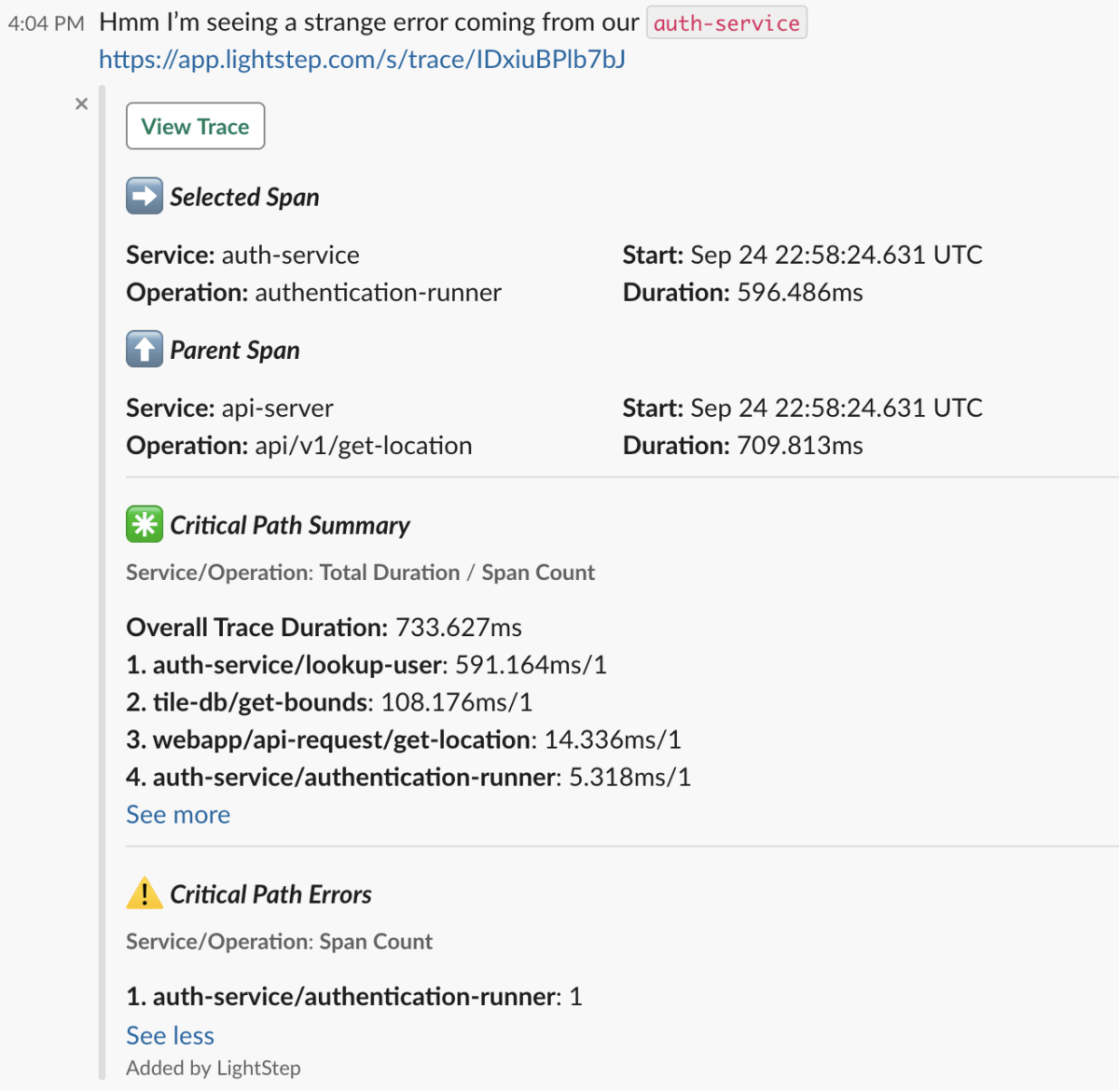 Slack is now able to provide previews to Lightstep links.