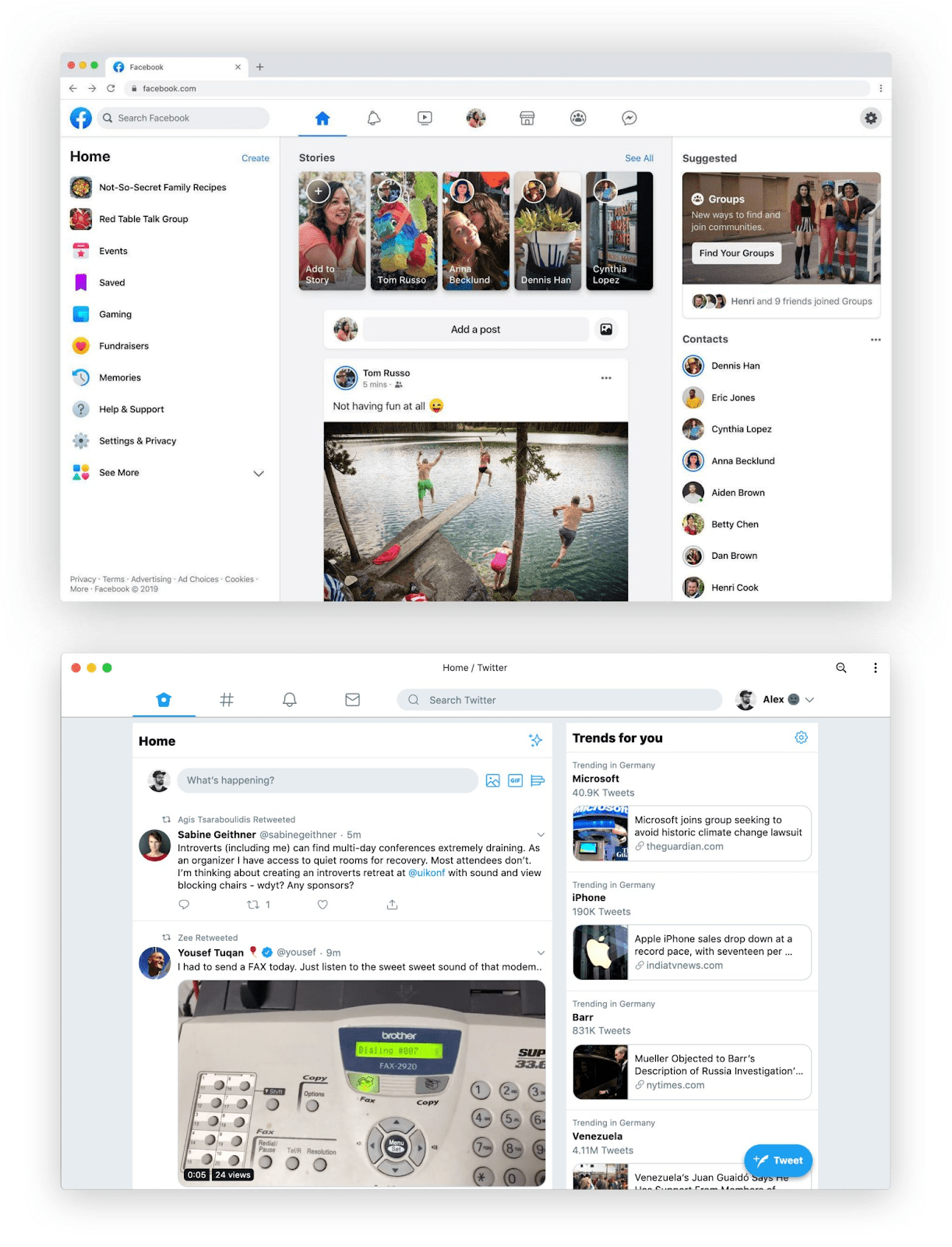 Facebook's 2019 Redesign, compared to Twitter by Alex Muench