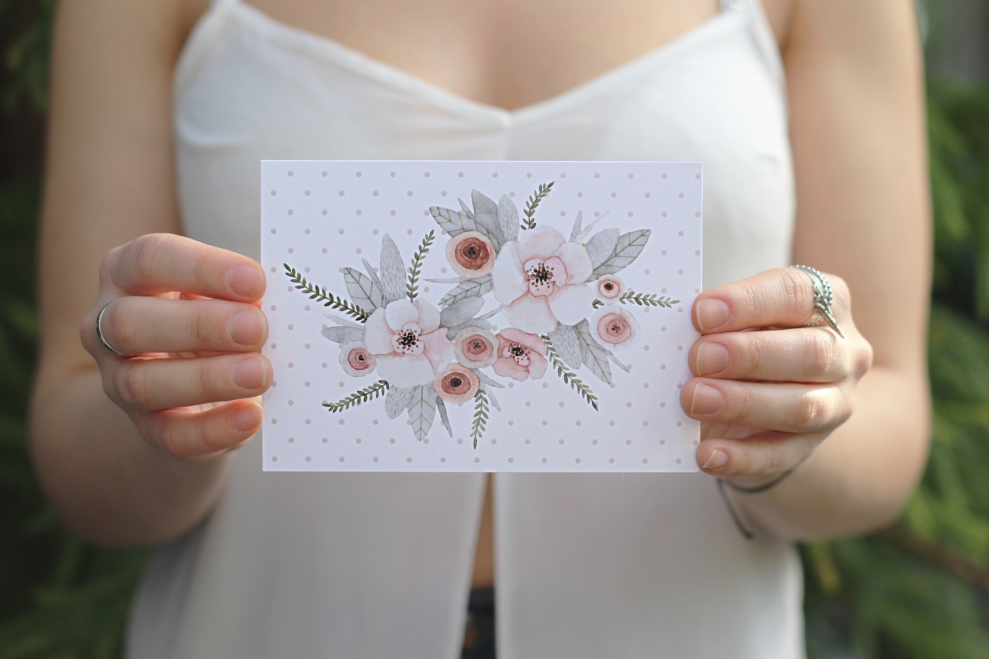 postcard with tender floral composition in pastel colors item