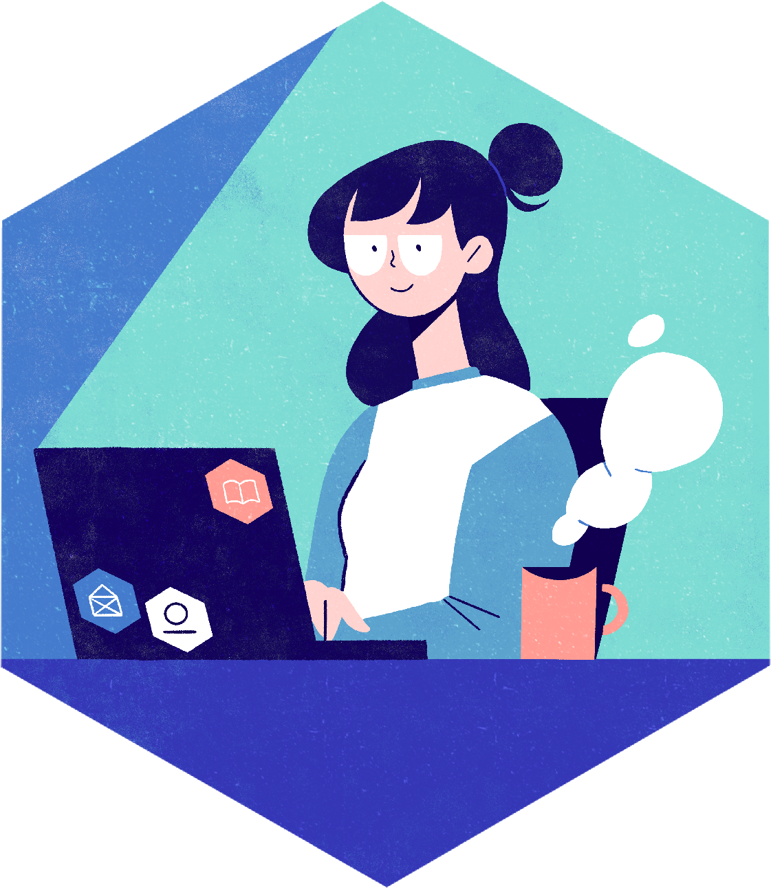 Person at their laptop with a steaming cup. Lydia Hill Illustration. All rights reserved.