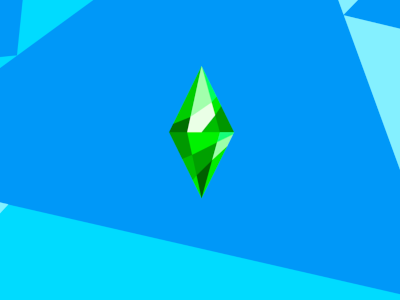 Screenshot of the loading screen. The green diamond 'Plumbob' is in the middle and there's a blue geometric background.