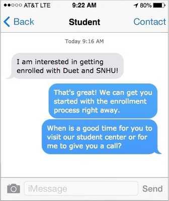 Text conversation example