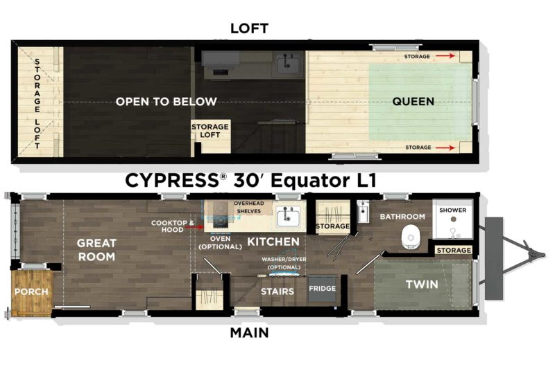 Tumblewood's Cypress 30' model which could contain a third bedroom as a pull-out couch in the 'great room', in addition to the two bedrooms (one upstairs and one downstairs).