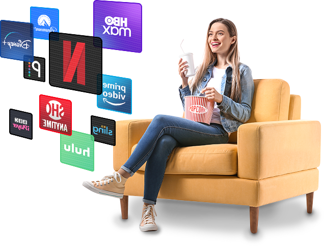 A smiling woman enjoying a selection of streaming services