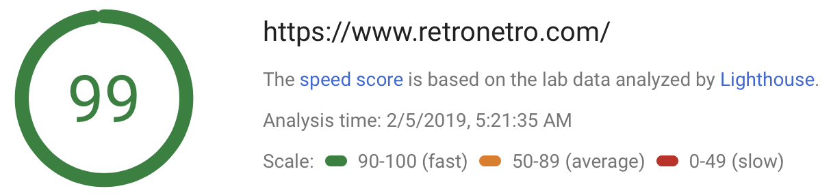 Mobile pagespeed results of 99%