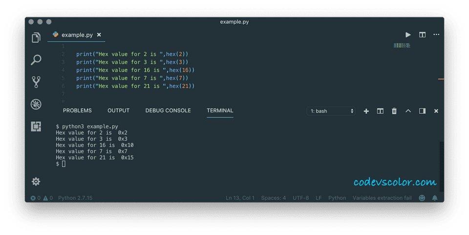 python convert integer to hex