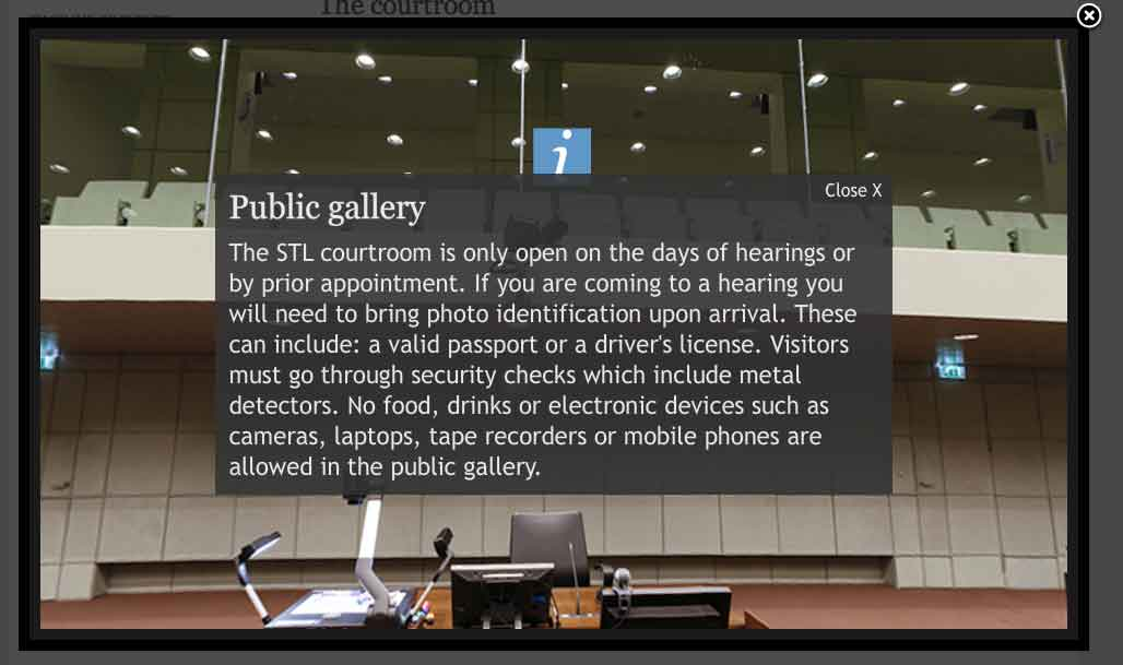 Screenshot of the tour of the courtroom on the STL website