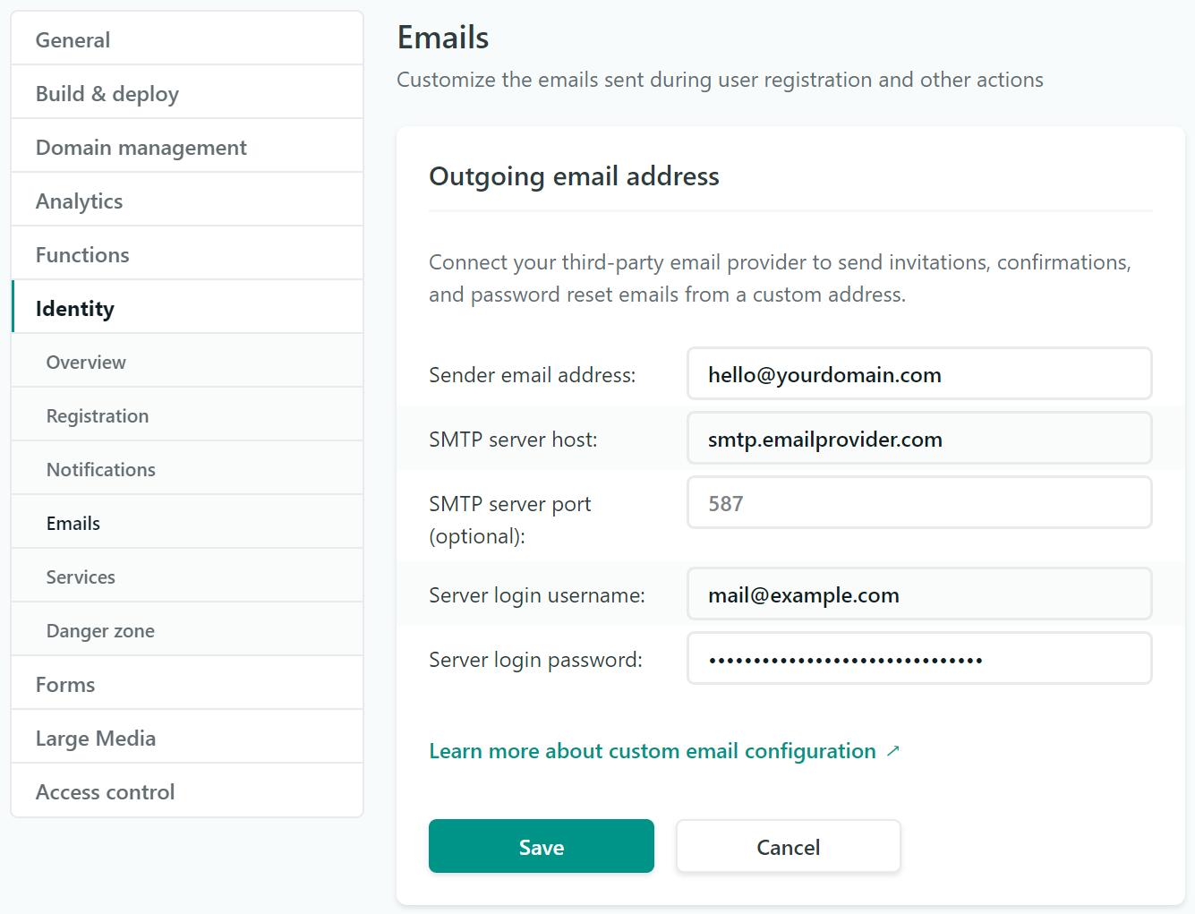 identity generated emails netlify docs
