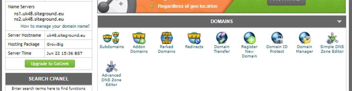 Siteground hostname