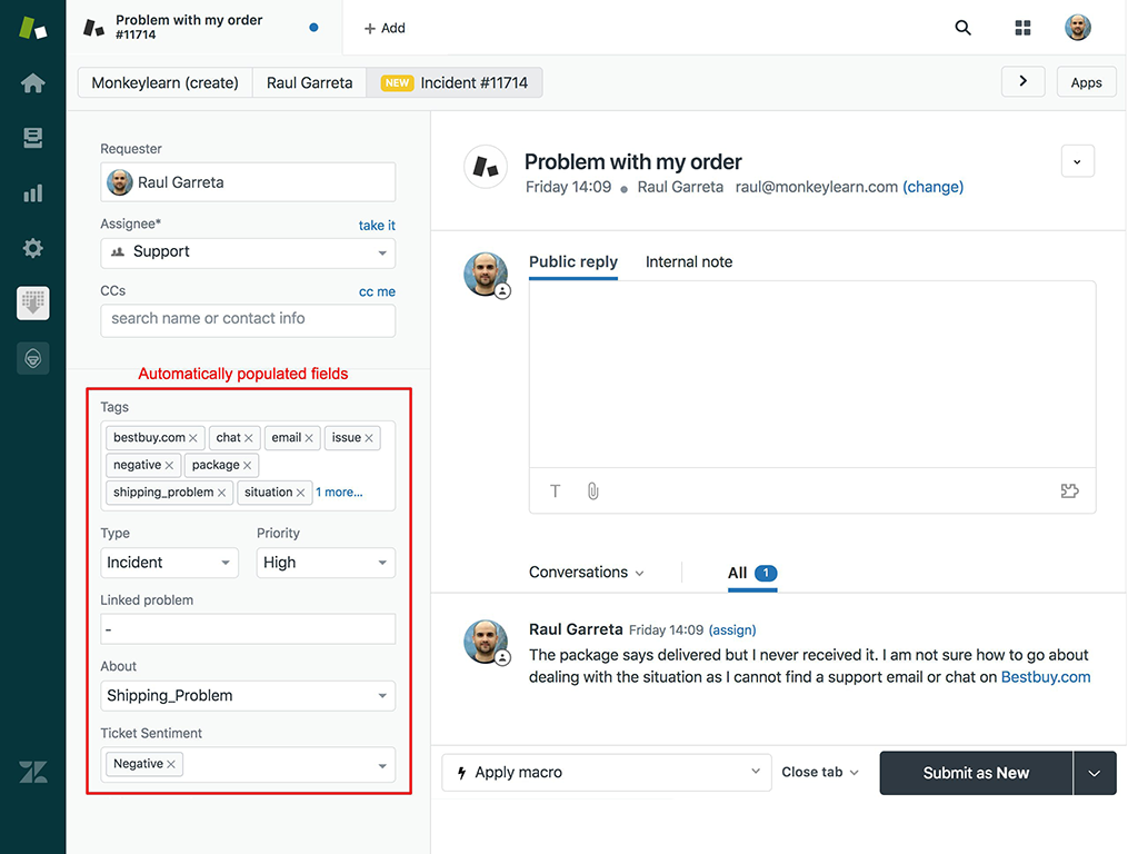 MonkeyLearn analyzing a customer support ticket in Zendesk and tagging it multiple tags, like 'negative' and 'shipping problem'