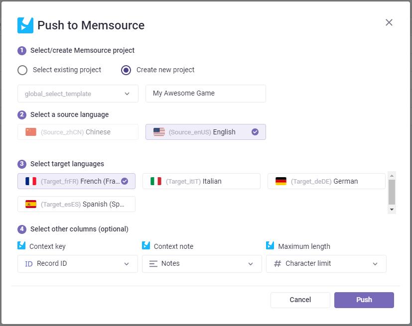 Push to Memsource Dialog Window