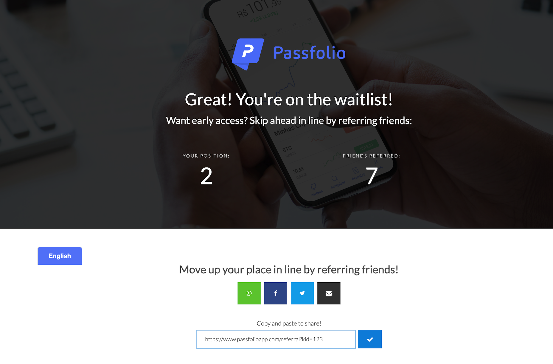 Passfolio thanks page