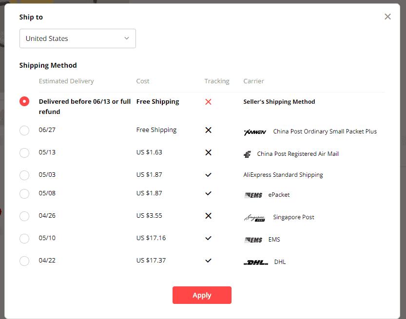 Default shipping methods