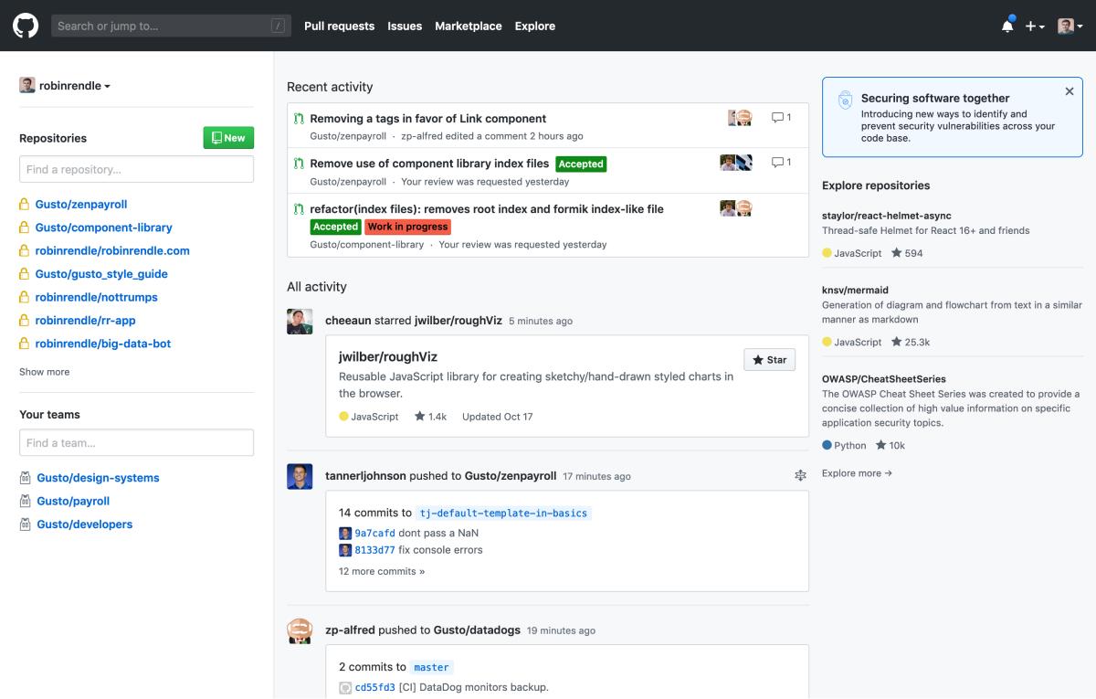 A screenshot of my GitHub dashboard