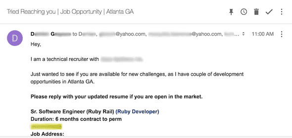 Email to old address from recruiter