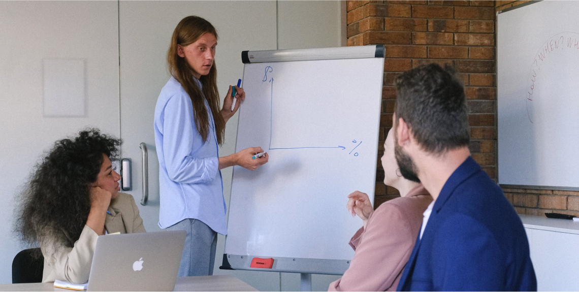 Team of experts discussing business challenges
