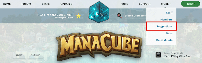 Games developer Manacube asks for suggestions from their top menu