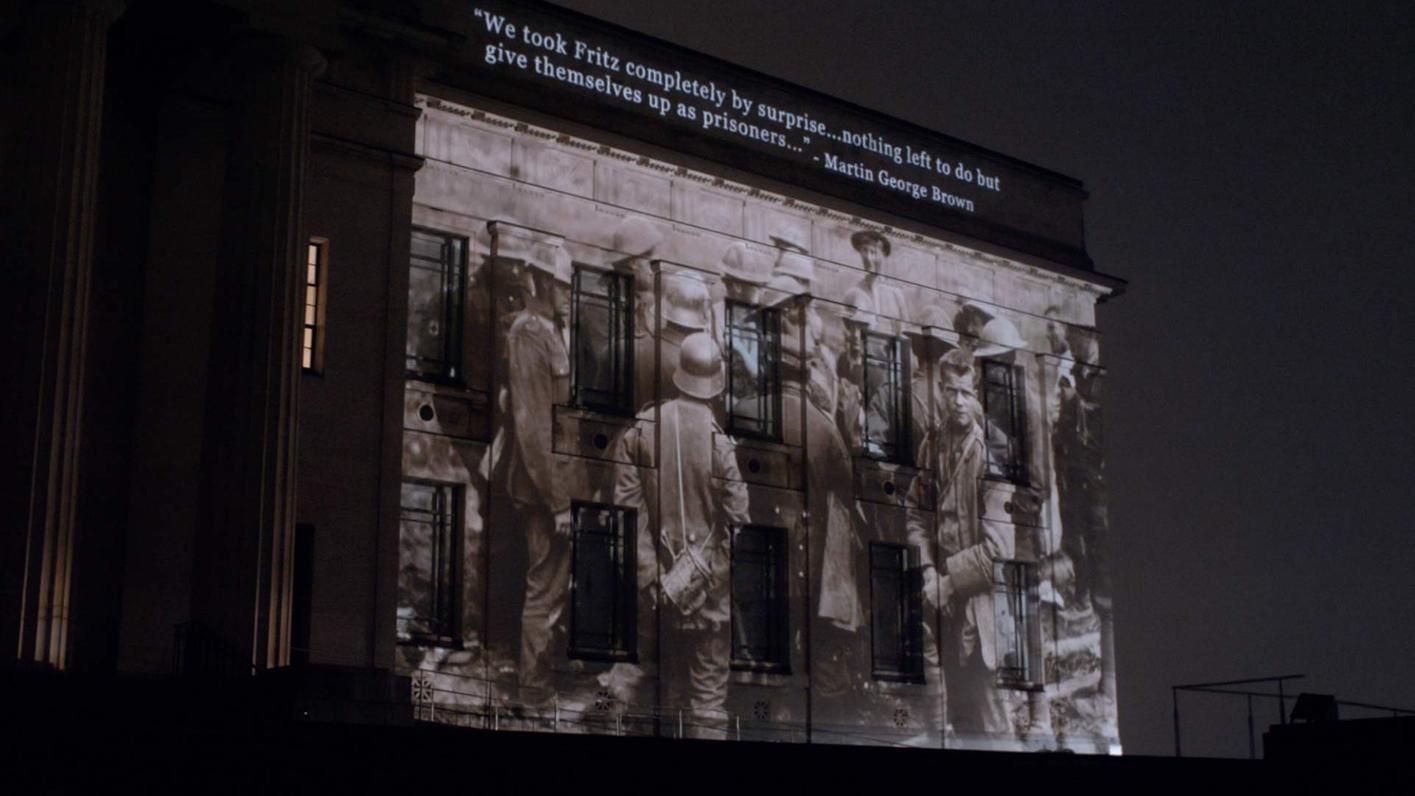 Armistice Auckland War Memorial- Museum image of projected war photograph