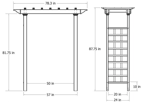 Carolina Arbor wireframe dimensions