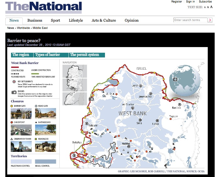 Screenshot showing The National's project for Barrier to Peace on a desktop