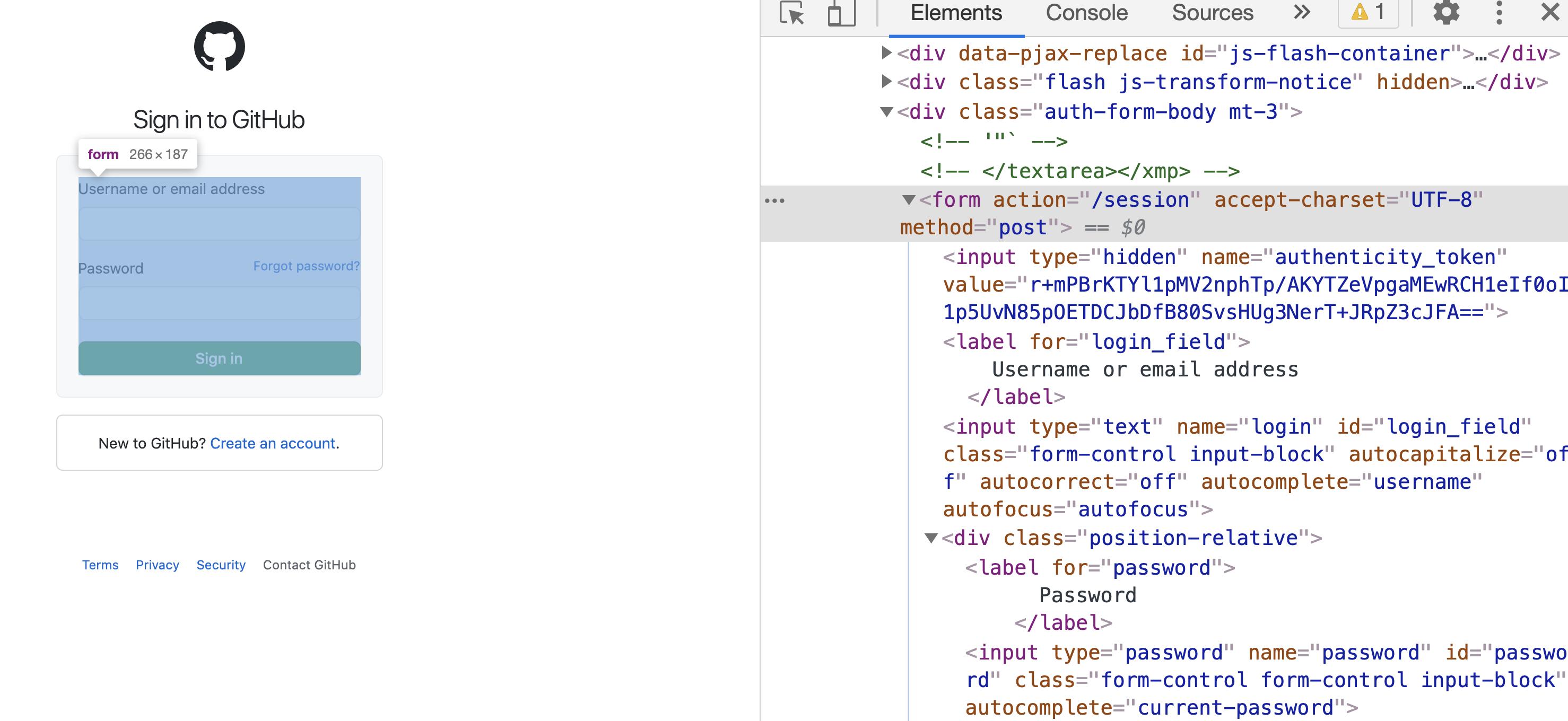 inspect GitHub login page