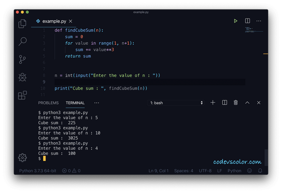 Python cube sum loop