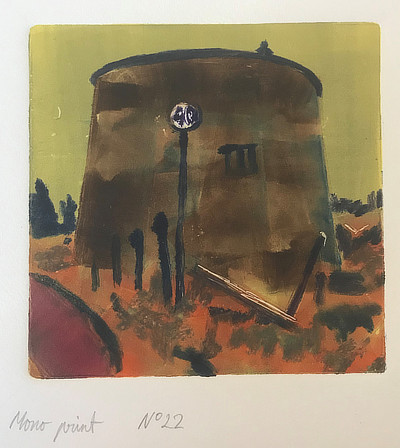 monoprint of Martello Tower with street sign