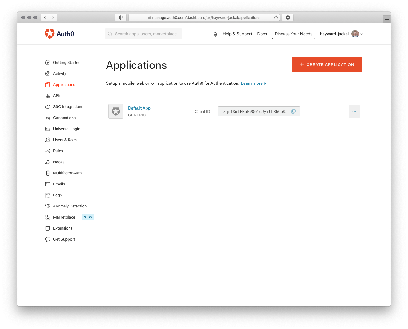 Auth0 Applications Dashboard