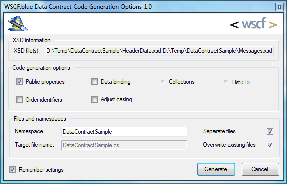 Data Contact Code Generation Options