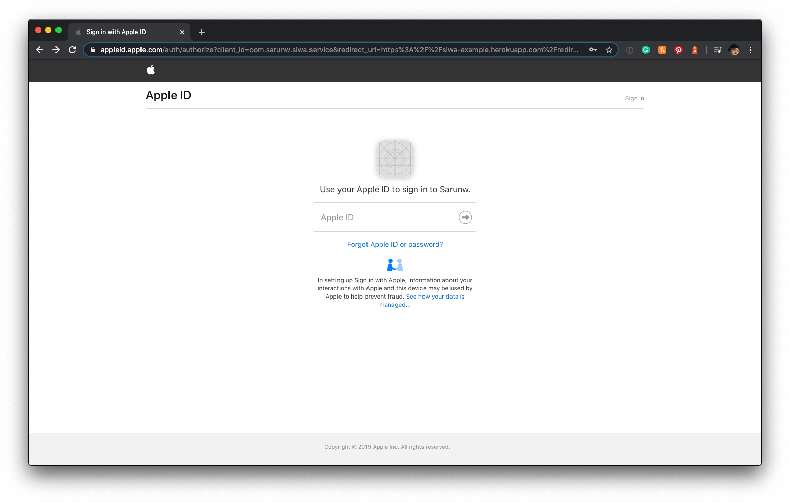 Sign in with Apple - First screen
