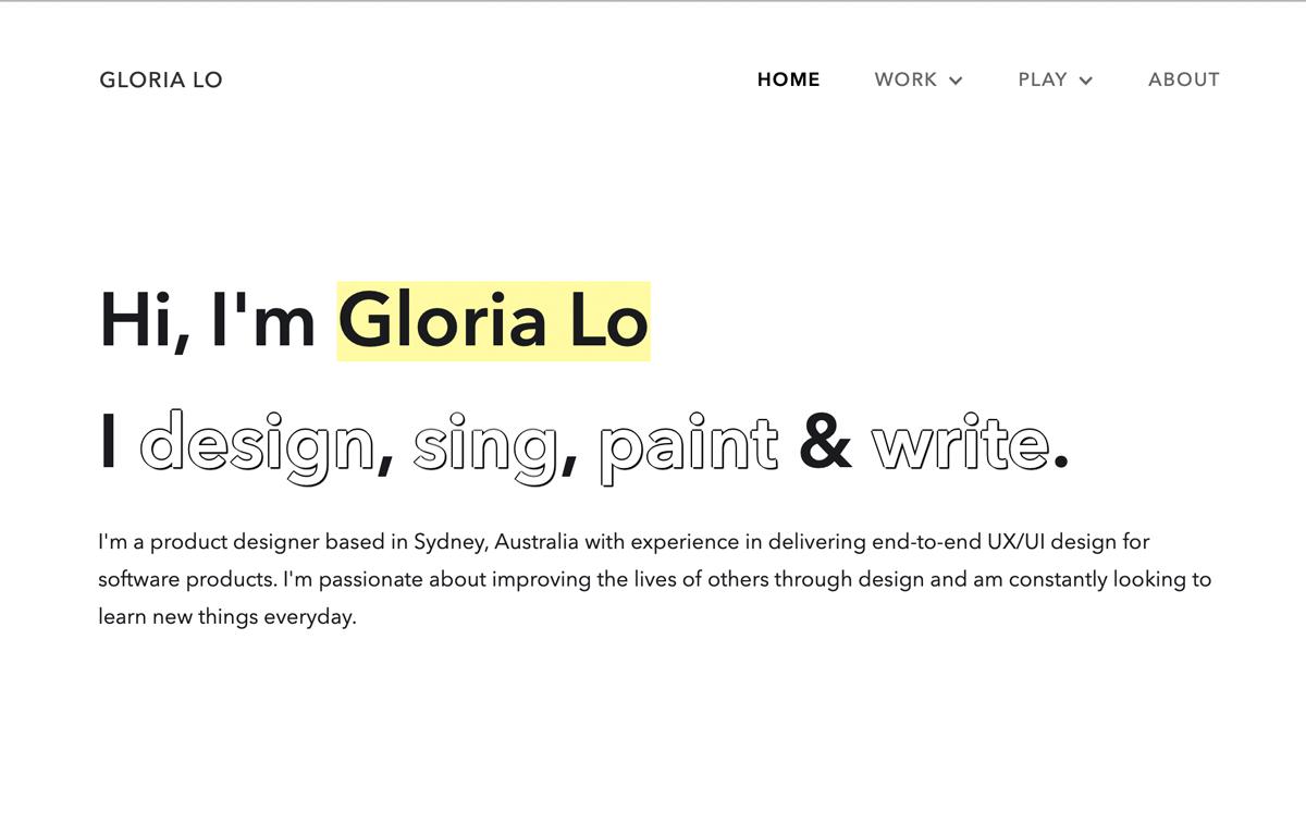 Gloria Lo's portfolio landing page (screebgrab)