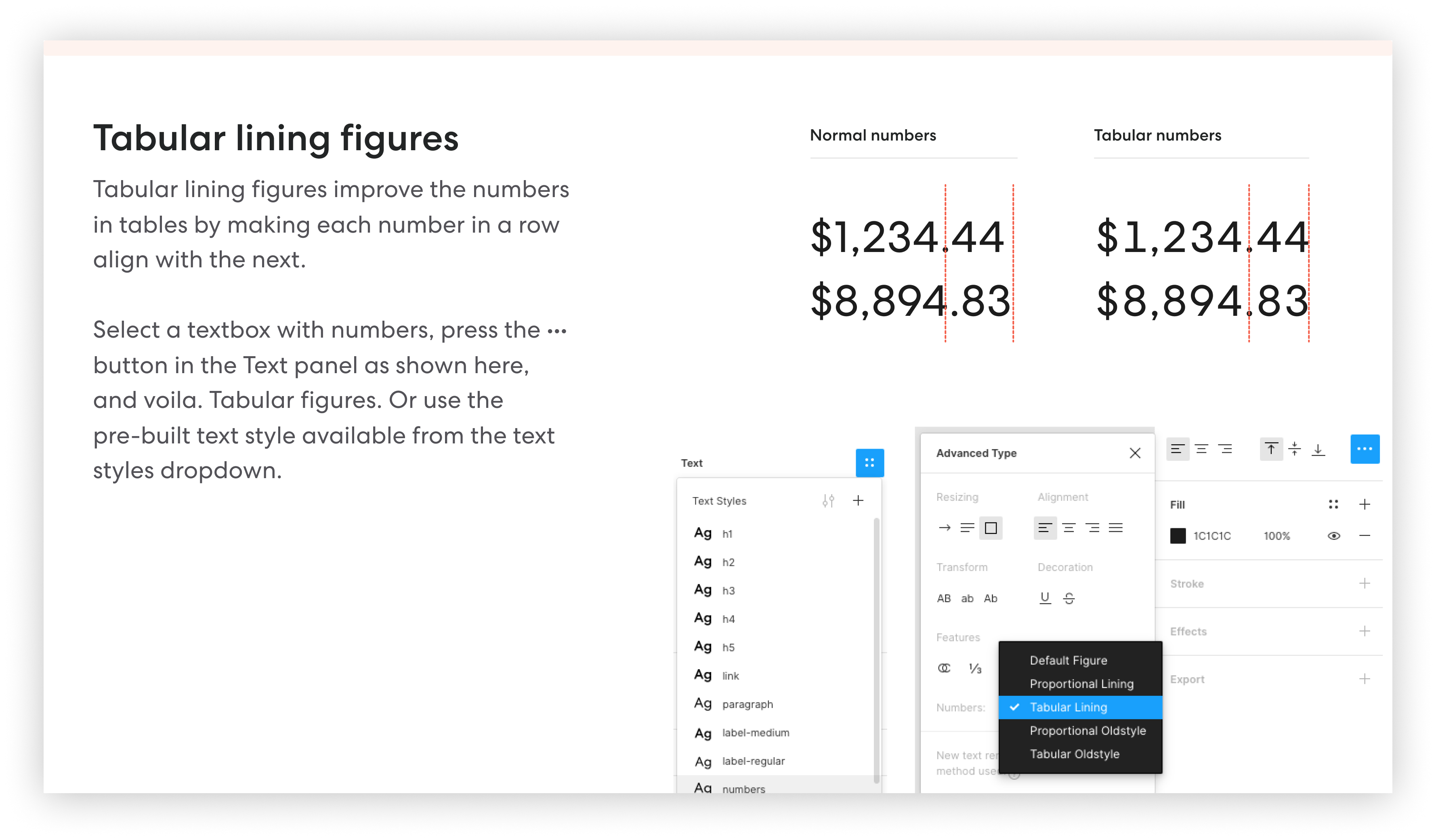 A screenshot of the Figma UI kit explaining how to use tabular lining figures